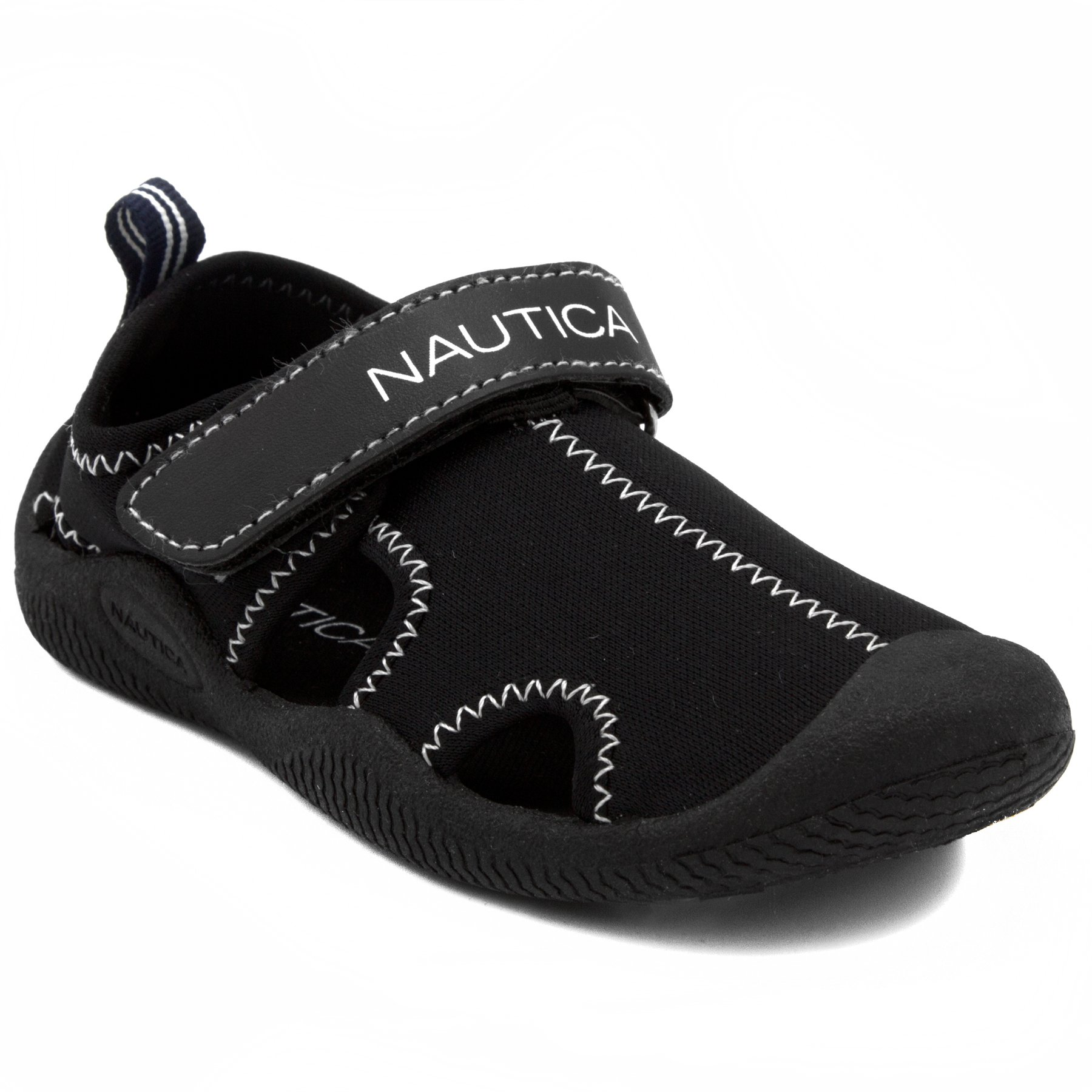 Nautica Kids Kettle Gulf Protective Water Shoe,Closed-Toe Sport Sandal-Solid Black-12