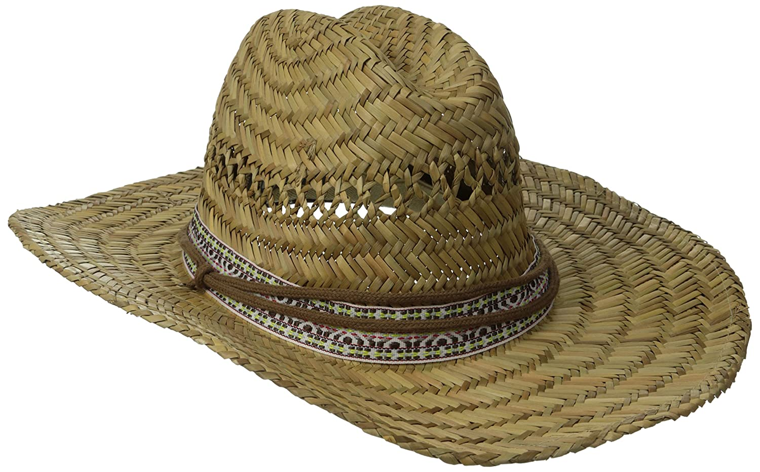 8e8973372a759 San Diego Hat Co. Men s Straw Lifeguard Hat with Jacquard Band and Chin  Strap