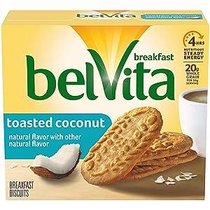 belVita Toasted Coconut Breakfast Biscuits, 5 Packs (4 Biscuits Per Pack)