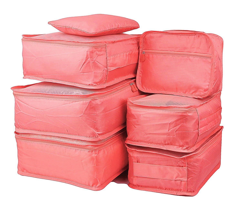 Rojeam 7 St/ück Kleidertaschen Set Kofferorganizer Packing Cubes Packw/ürfel f/ür Reise mit W/äschebeutel Handgep/äck und Sees/äcke