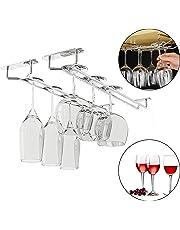 Soporte para copas de vino debajo del gabinete (4 piezas) con tornillos y enchufes de pared Acero inoxidable - Soporte de vajilla cromado (33.5 x 12 x 6 cm) para copas de cóctel, vino y champán
