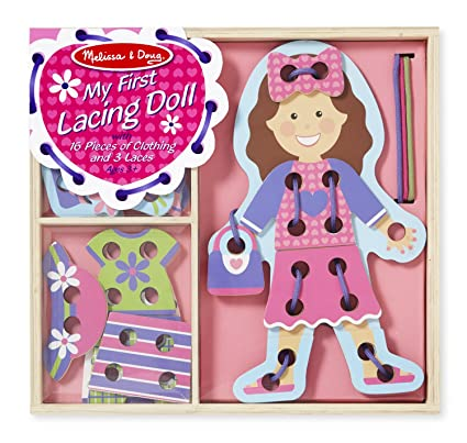 ed2b69d1fc7c Amazon.com: Melissa & Doug My First Lacing Doll With 16 Pieces of ...