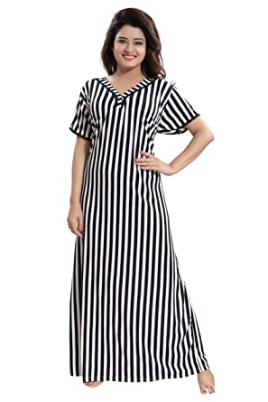 TUCUTE Women Beautiful Bold Line Print Nighty Night Gown Night Dress Nightwear  ( df0fa710d