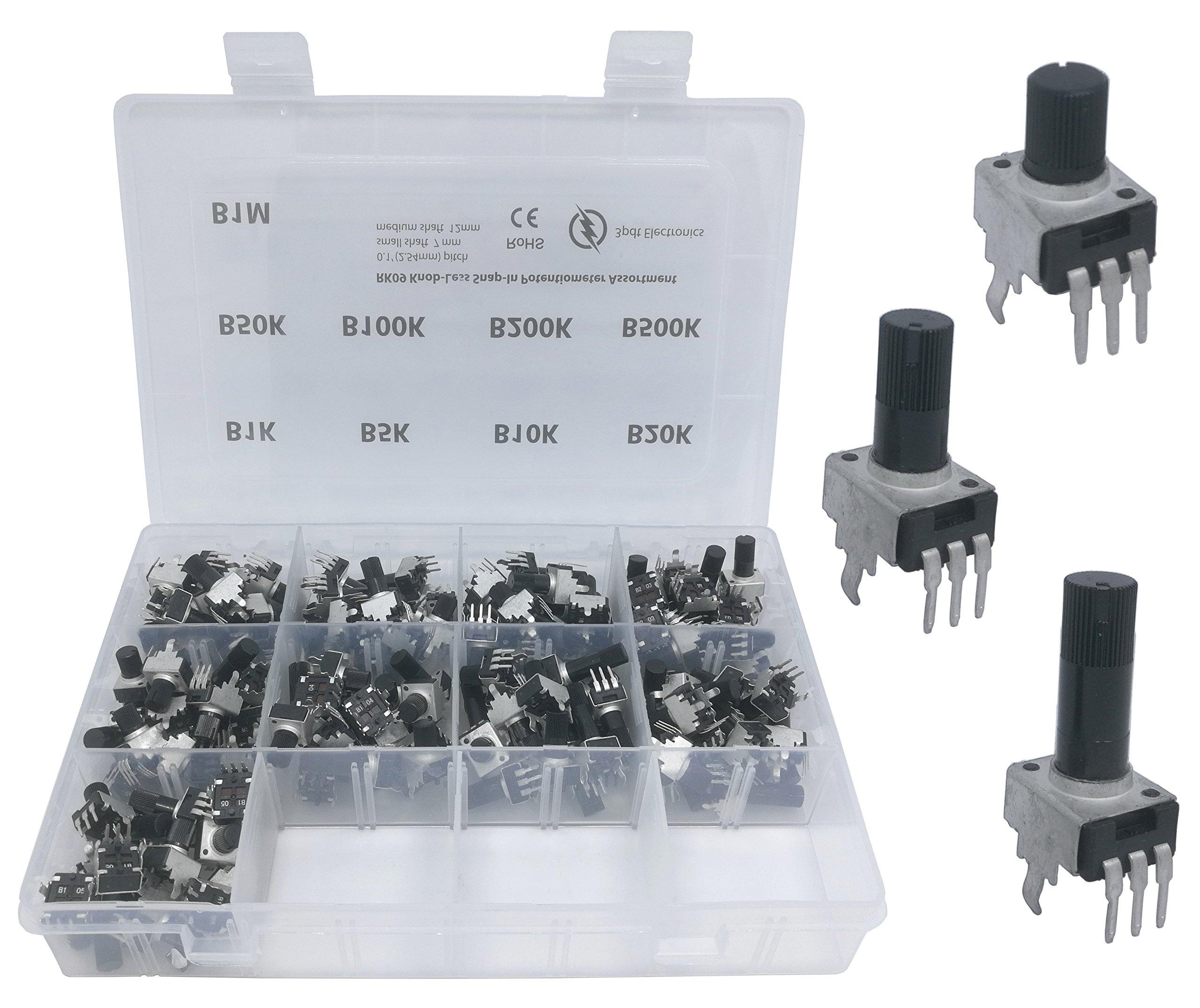 108 pcs 9 Values 3 Shaft Size knobless snap-in Mini Pot RK09 Small Potentiometer Assortment Kit for PCB Mount B1K, B5K, B10K, B20K, B50K, B100K, B200K, B500K, B1M