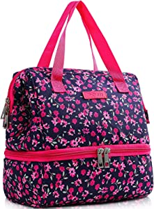 MIER Lunch Bags for Women Large Insulated Meal Prep Lunch Box Cooler Cute Wide-Open Lunch Tote Bag with Dual Leak Proof Compartments for Adult to Work Travel Park Picnic, Crabapple