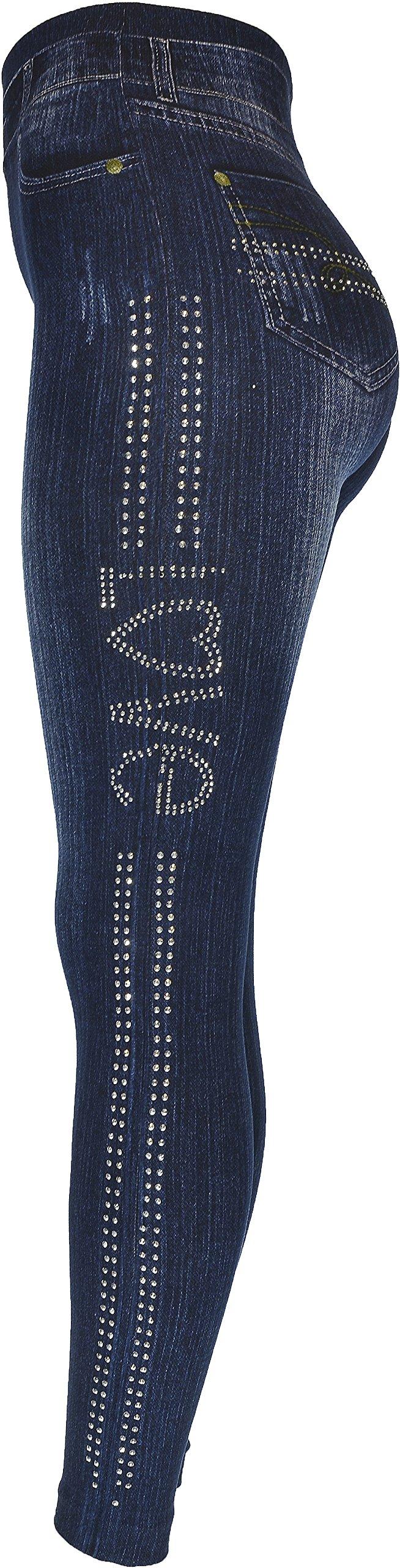 Hand By Hand Aprileo Women's Leggings Jeans Look Printed Stretch [Love Dark Denim](One Size)