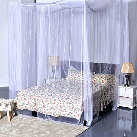 Mosquito Net Curtain Cover 4 Corner Post Bed Canopy King size Easy Installation