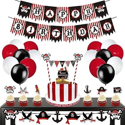 Amazon.com: Levfla - Decoración de fiesta pirata, Set de ...