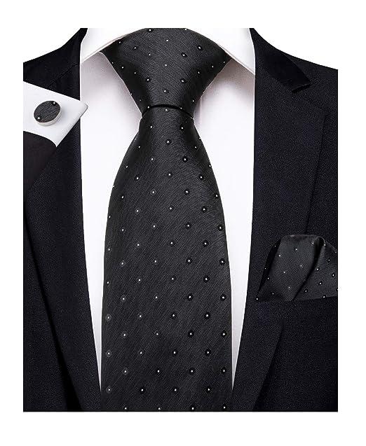 7846352173ce DiBanGu Men's Silk Tie and Pocket Square Woven Black Tie Handkerchief  Cufflink Set Formal