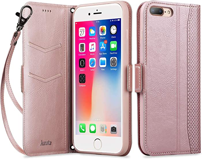 "Aunote iPhone SE2 Wallet Case, iPhone 8 Wallet Case with Card Holder,with Wrist Strap Kickstand Shockproof Magnetic Cover, Leather Flip Folio Card Cases for Apple iPhone 7/8 4.7"" - Rose Gold"