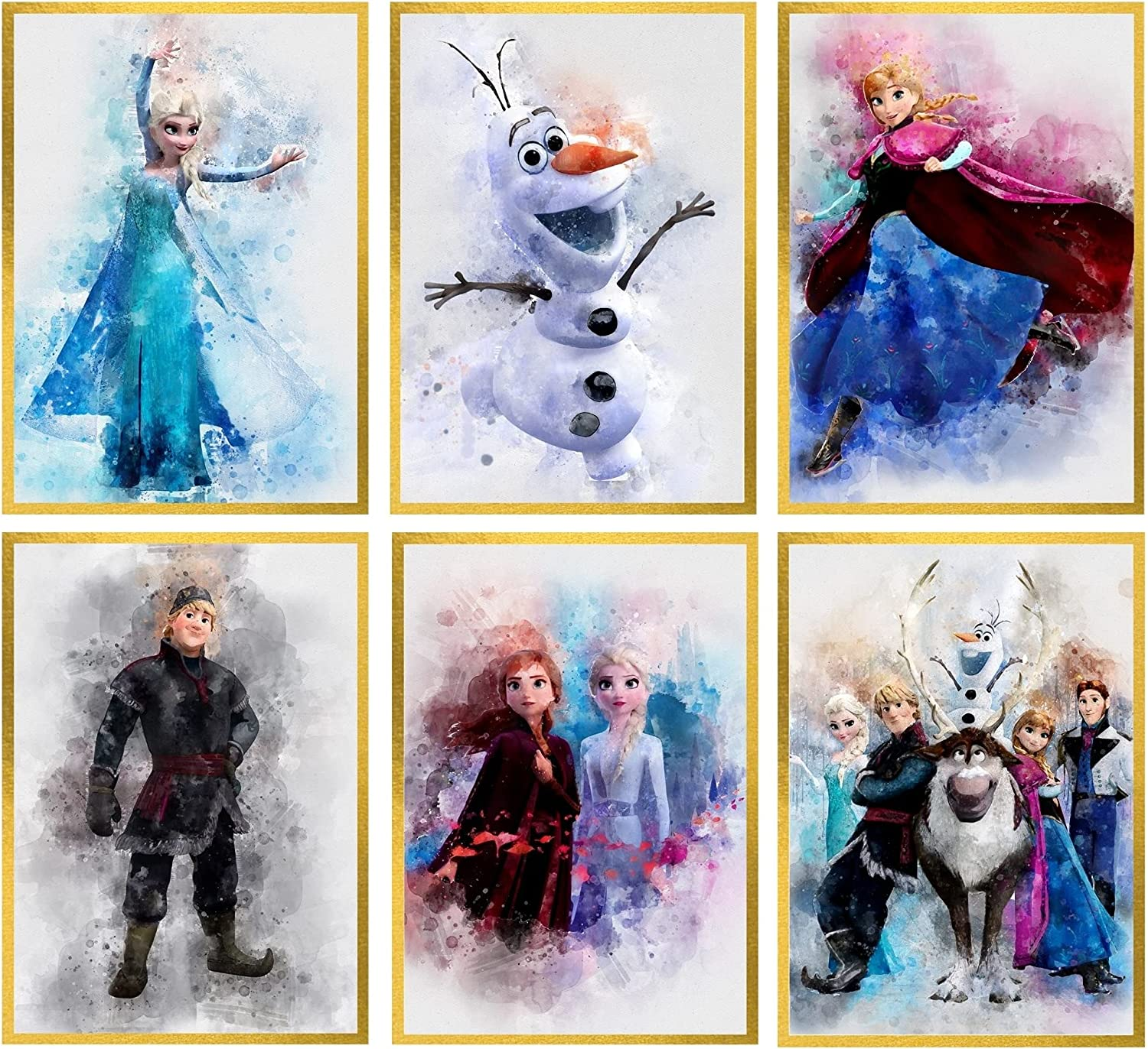 Frozen Wall Decor Posters for Girls Room – Unframed Set of 6 Prints, 8x10 Inch, Watercolor Art Pictures of Elsa Anna Olaf Kristoff Sven for Tween Girl, Kids Bedroom Playroom Birthday Party Decoration Frozen 1 2