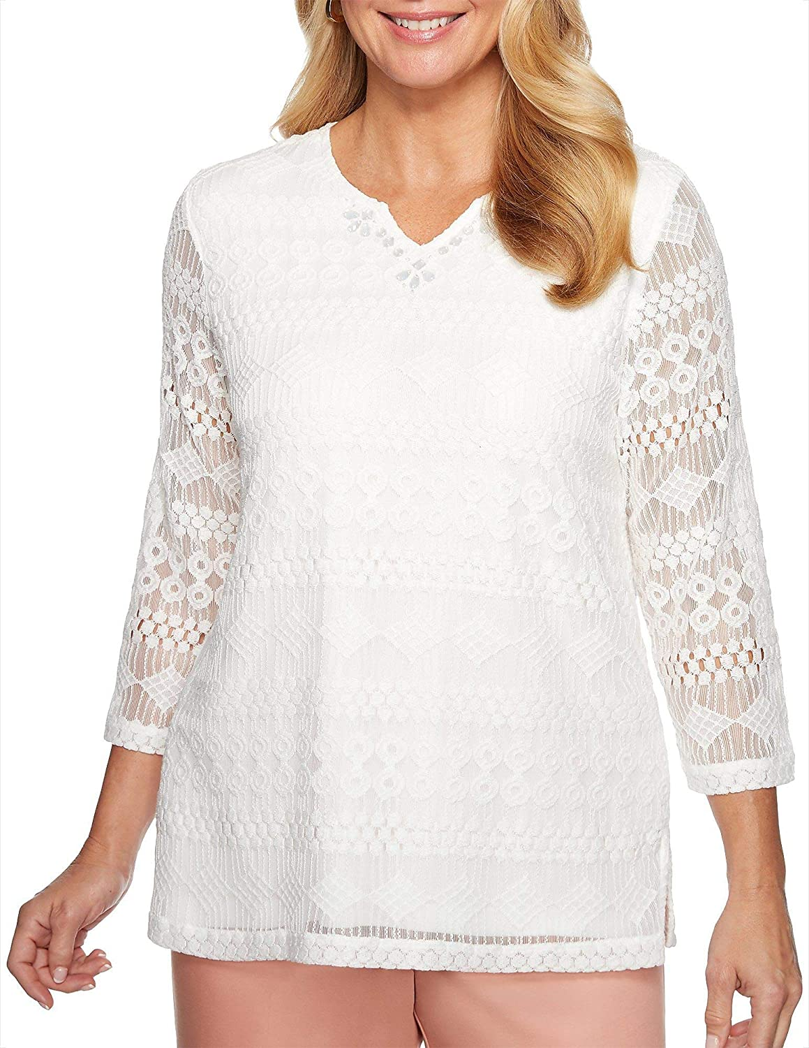 Alfred Dunner Womens Good to Go Solid Lace Top
