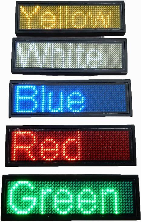 MidoriMori LED Programable Name Tag Digital Scrolling Business Badge Recargable Nametag Card con Im/án//Pin para Restaurante Tienda Fiesta Fiesta Exposici/ón
