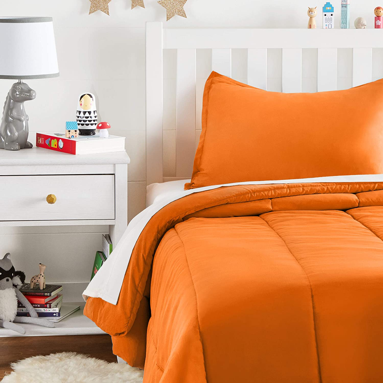 Full or Queen Bright Orange Basics Easy-Wash Microfiber Kids Comforter and Pillow Sham Set