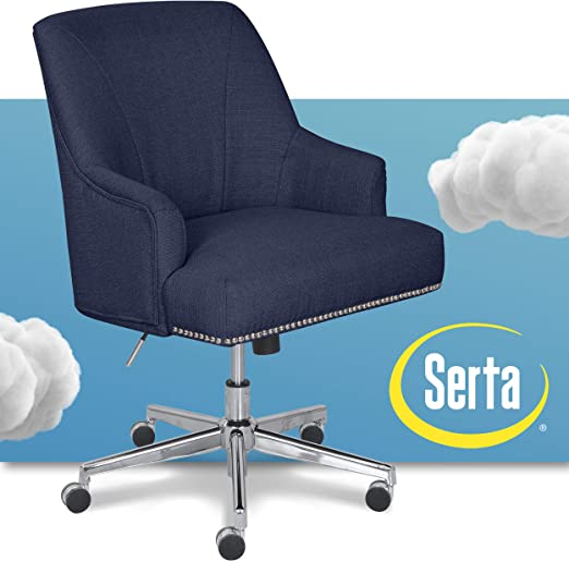 Amazon Com Serta Style Leighton Home Office Chair Sanctuary Blue Twill Fabric Furniture Decor