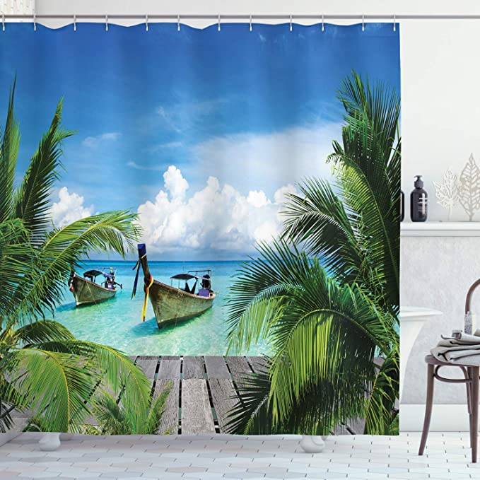 Beach Shower Curtain Sunshine Maldives Deck Print for Bathroom