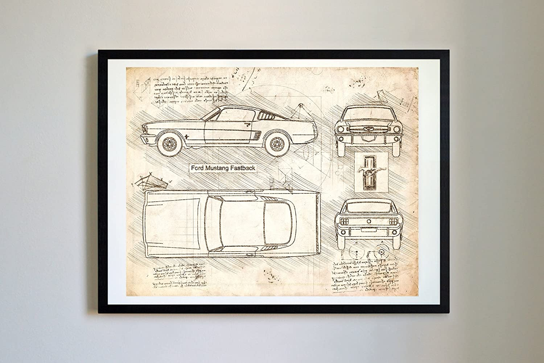 Amazon com dolanpaperco 306 ford mustang fastback 1965 art print art print da vinci sketch unframed multiple size color options 11x14
