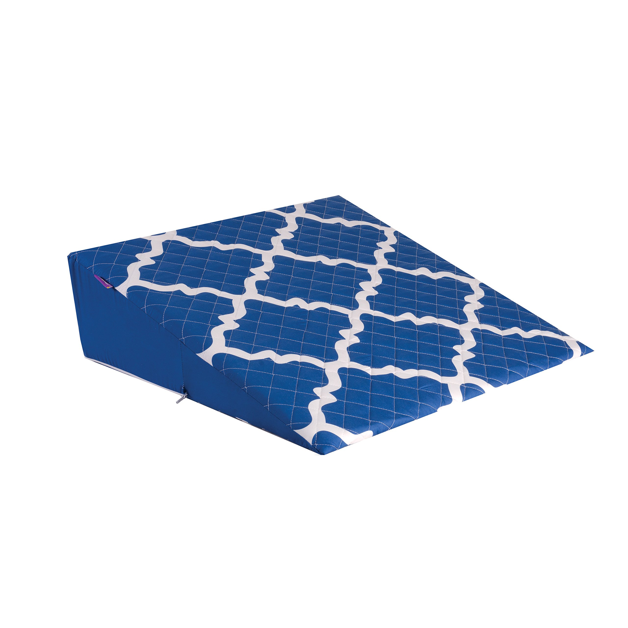 HealthSmart Premium Foam Comfort Bed Wedge Pillow with Spill-Resistant Cover, Blue Moroccan, 7 X 24 X 24 inches