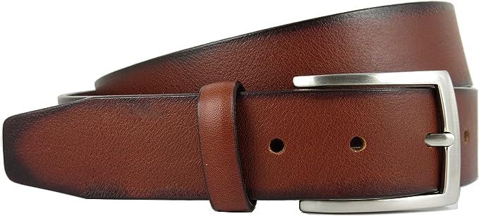 Cinturón de piel para hombre - Hecho a mano en España con piel de alta calidad - 3.5 cm de ancho: Amazon.es: Ropa y accesorios