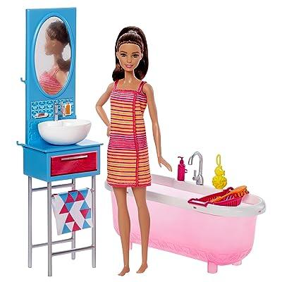 Barbie Bathroom & Doll: Toys & Games