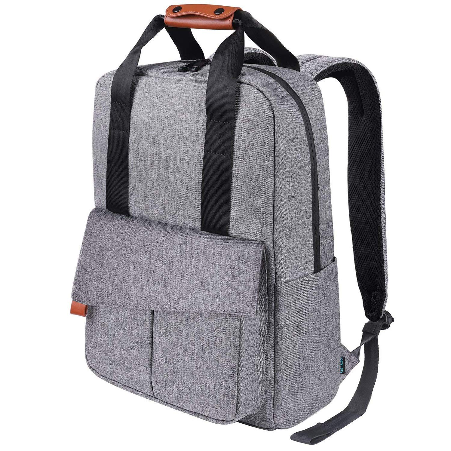 11c8b99b7a1de REYLEO Business Laptop Backpack 15.6 Anti-Theft Notebook Rucksack Casual  Daypack with Leather Handle for Women Men - Grey (RB23)  Amazon.co.uk   Luggage