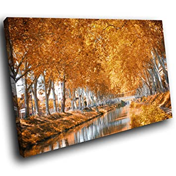 Sc1026ssp Encadrée Toile Art Coloré De La Mur U2013 Orange Gris Arbres Du  Automne U2013 Motif