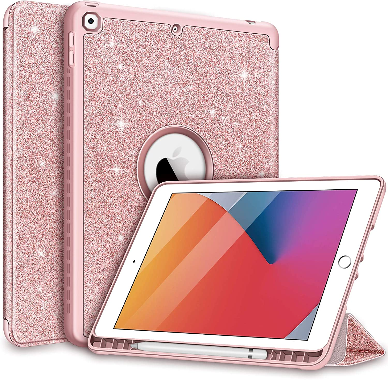 Hython for iPad 10.2 Case iPad 8 2020 Case iPad 7th 2019 Case, Built-in Stand Design with Apple Pencil Holder, Glitter Bling Sparkle Hybrid Shockproof Protective Hard Case for iPad 7 and 8, Rose Gold