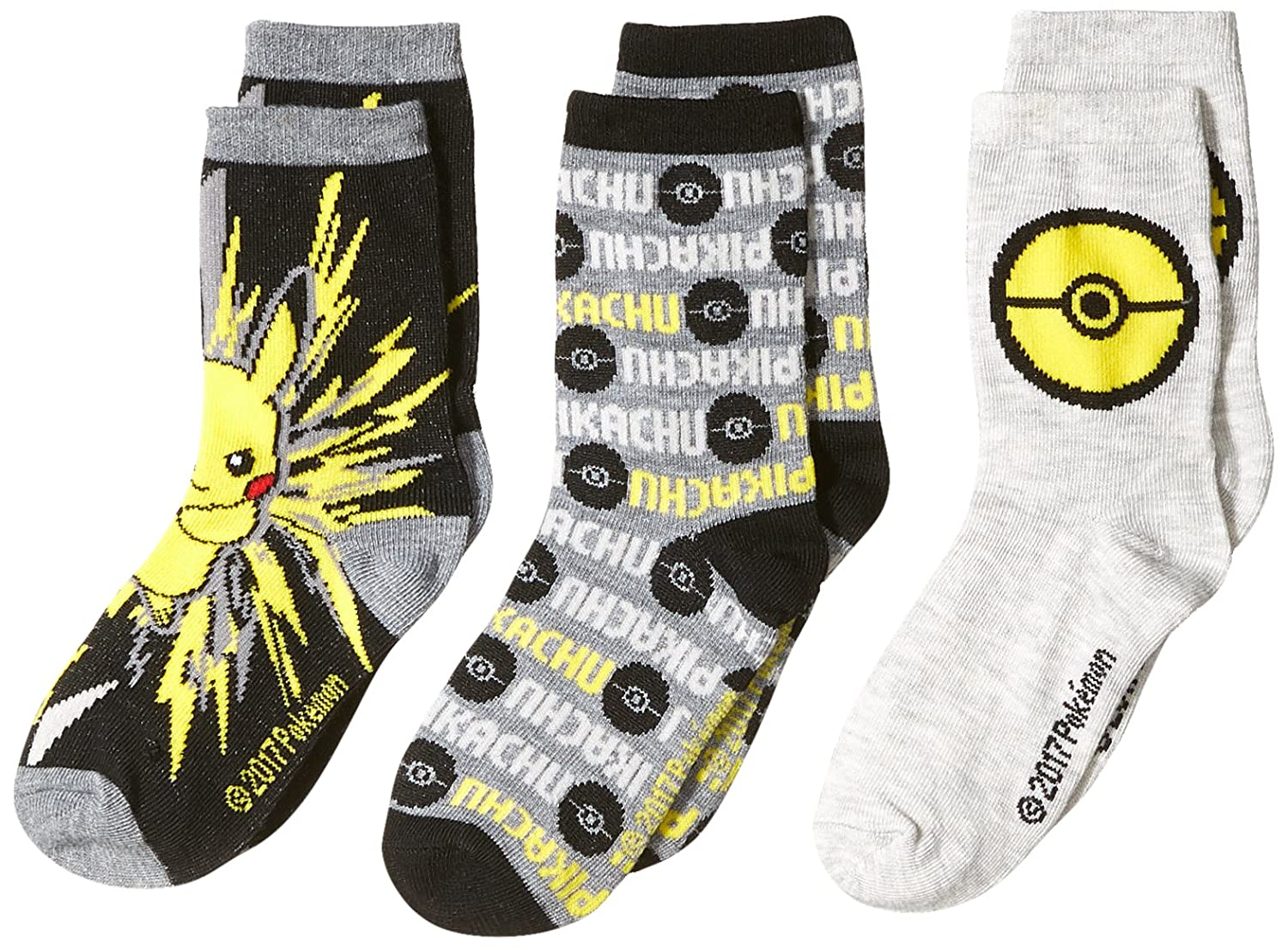 Pokemon Boys' Little 3 Pack Crew Socks Assorted 6-8.5 E80373