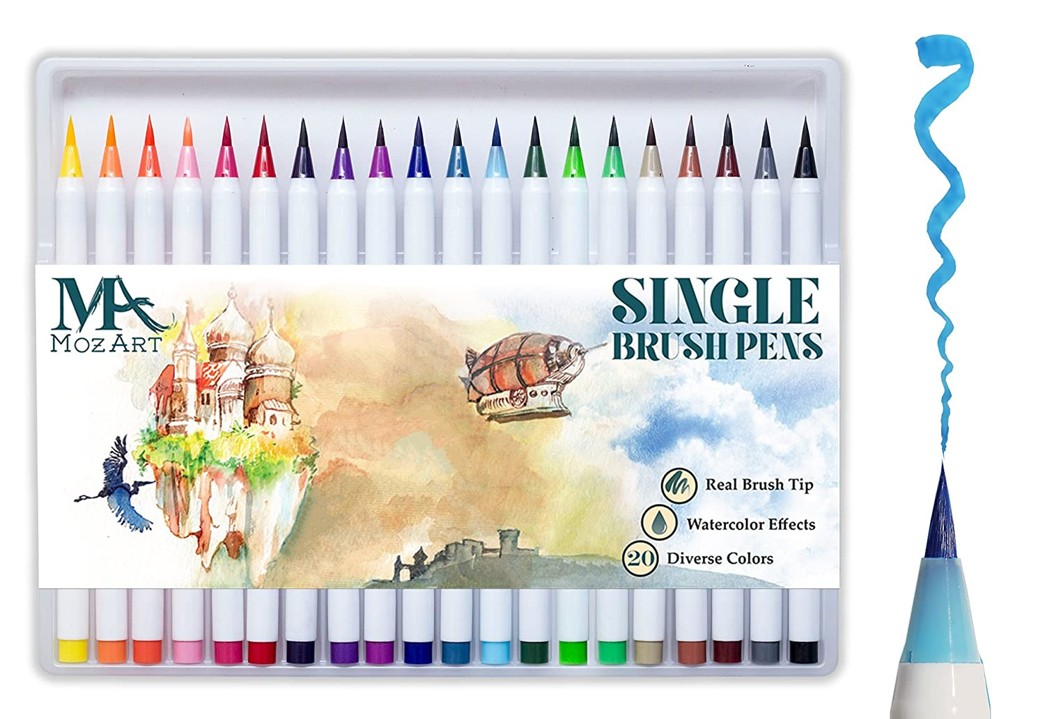 Pinselstift-Set – 12 Farben – weiche flexible Echtpinsel-Spitze, langlebig, Wasserfarben-Effekt, Aquarell – Ideal für Malbücher, Manga, Comic, Kalligrafie, duale Stärke - Brush Pen Set - MozArt Supplies