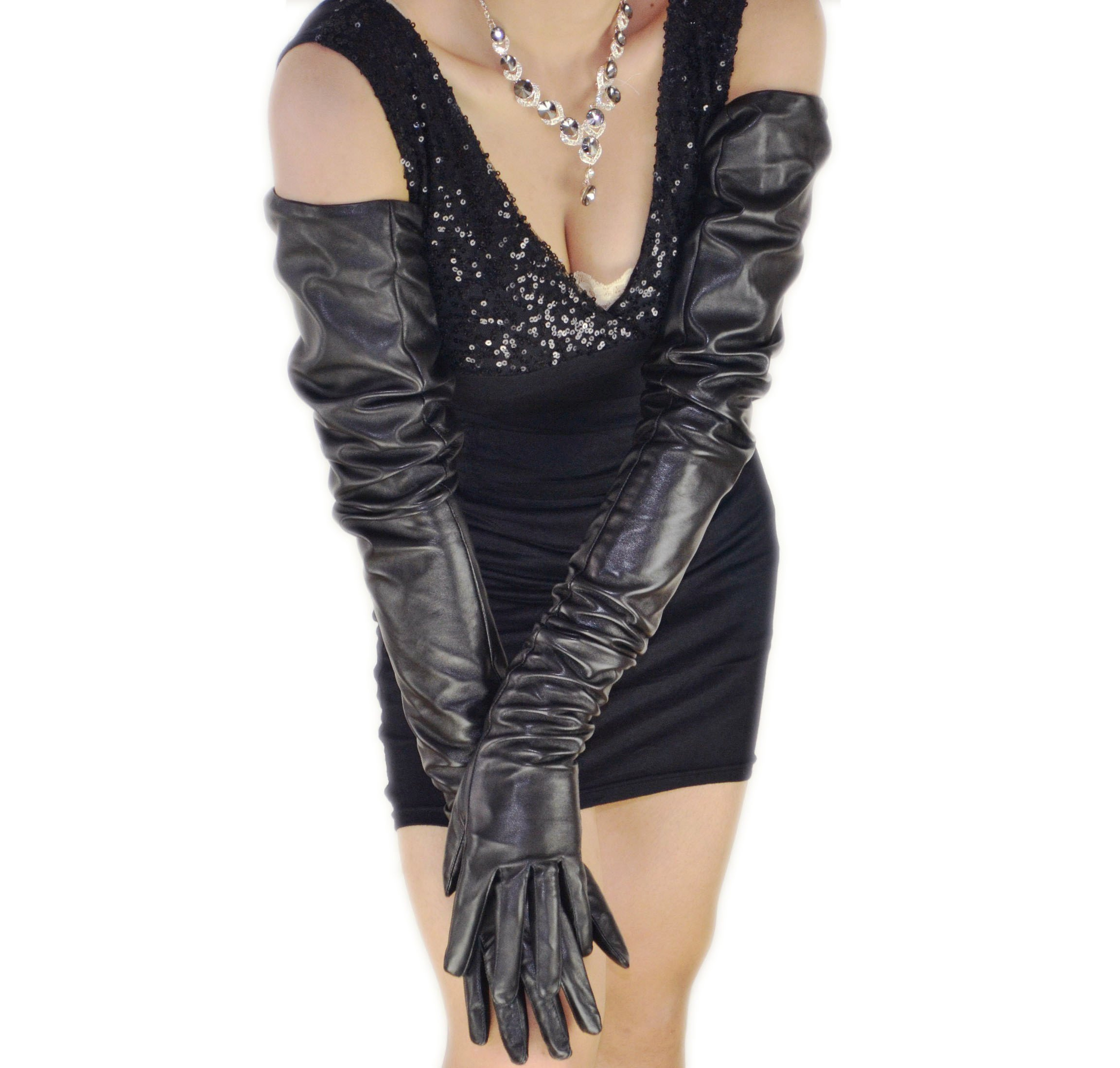 80cm(31.5'') long plain style top quality leather opera gloves (XXL) by FINILUO