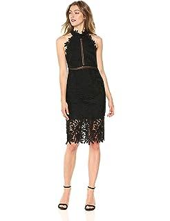 Bardot Womens Lace Sheath Midi Dress Xs Black At Amazon