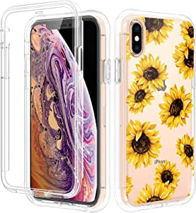 Caka iPhone X Case, iPhone Xs Case for Women, with Screen Protector Full Body Protective Sunflower Case for Girls Girly Clear Floral Flowers Shockproof Case for iPhone X Xs 5.8 inches (Sunflower)