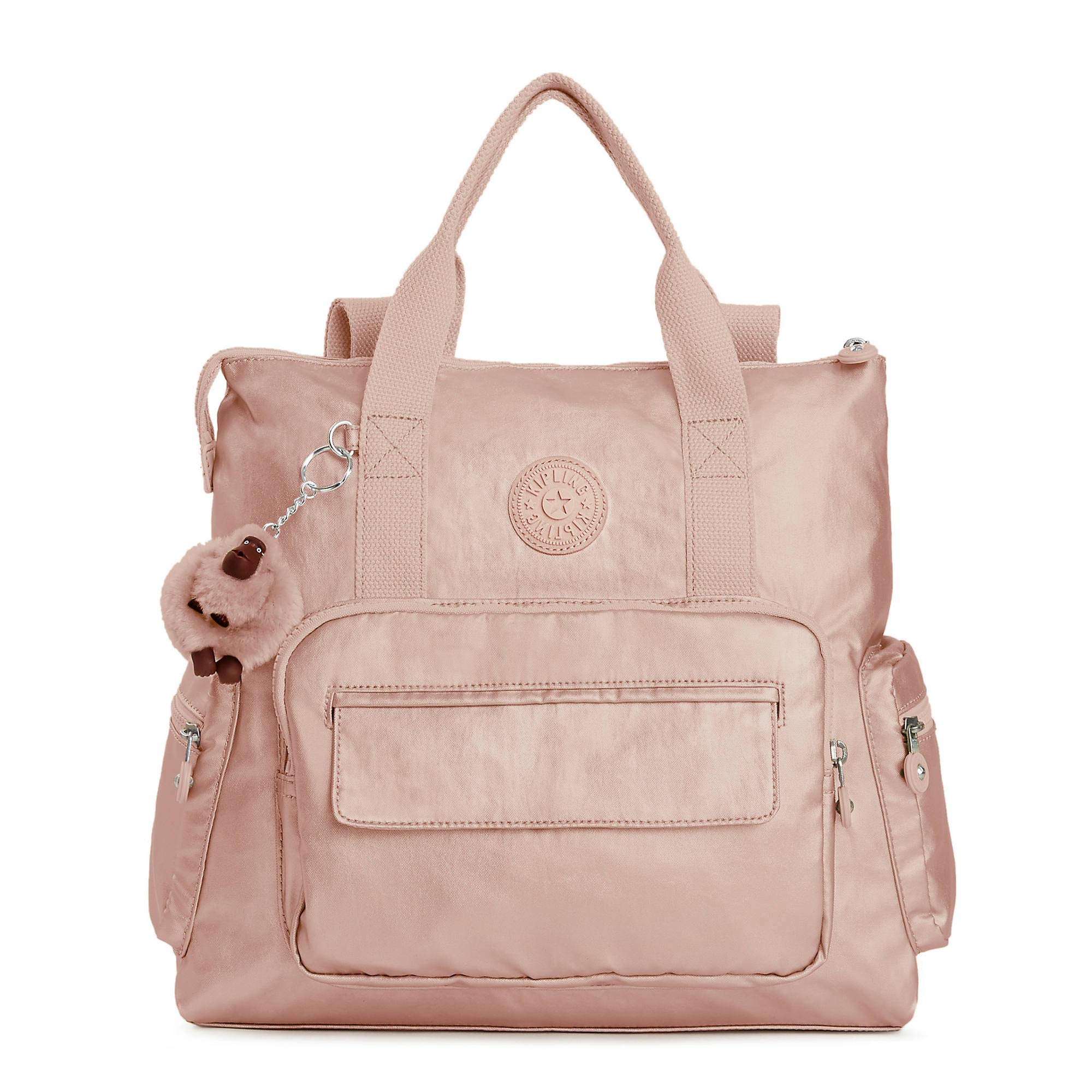 Kipling Alvy 2-In-1 Convertible Metallic Tote Bag Backpack One Size Rose Gold Metallic