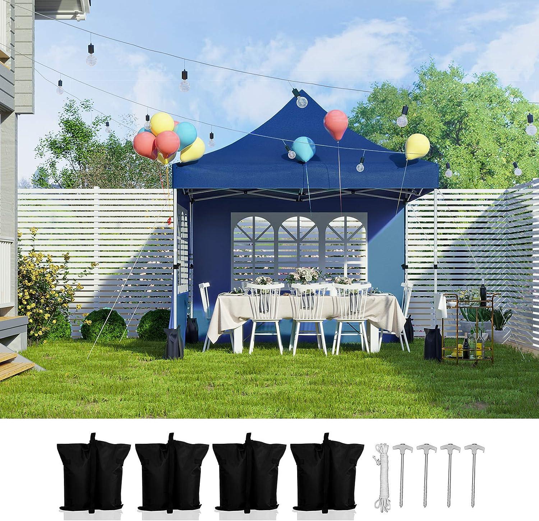 SONGMICS Carpa Marquesina 3 x 3 m, Anti-UV, Toldo Impermeable con Bolsa de Transporte con Ruedas, Bolsas de Peso, 2 Paredes Laterales, para Fiestas al Aire Libre Eventos Exterior, Azul GCT32IN: Amazon.es: