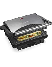 Tower T27009 Large Health Grill and Griddle, Stainless Steel with Cerastone Coated Non-Stick Plates, Cool Touch Stainless Steel Handle, Indicator Light and Non-Slip Feet, 1000 W, Black