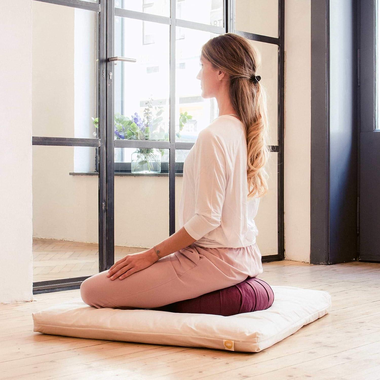 Lotuscrafts Cojin Zafu Meditación Yoga Zen - Altura 15 cm - Relleno de Espelta - Cubierta en Algodon Lavable- Cojin Yoga Zafu - Cojin Suelo Redondo - ...