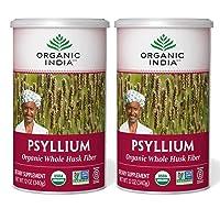 Organic India Psyllium Herbal Powder - Whole Husk Fiber, Healthy Elimination, Keto Friendly, Vegan, Gluten-Free, USDA Certified Organic, Non-GMO, Soluble & Insoluble Fiber Source - 12 oz Canister (Pack of 2)