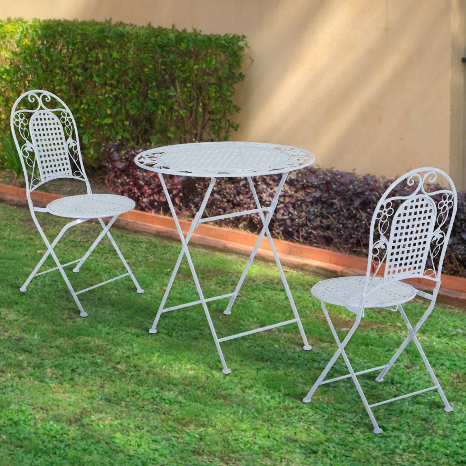 outdoor garden 3 piece patio metal bistro dining set table chair set 2