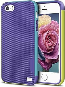 EXSEK iPhone 5/5S SE Case, Hybrid Ultra Slim 3 Color Case Shockproof [Anti-Slip] [Extra Front Raised Lip] Scratch Resistant Soft Gel Bumper Rugged Case for iPhone 5/5S (Purple)