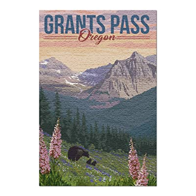Grants Pass, Oregon - Bear and Spring Flowers 101980 (Premium 500 Piece Jigsaw Puzzle for Adults, 13x19, Made in USA!): Toys & Games