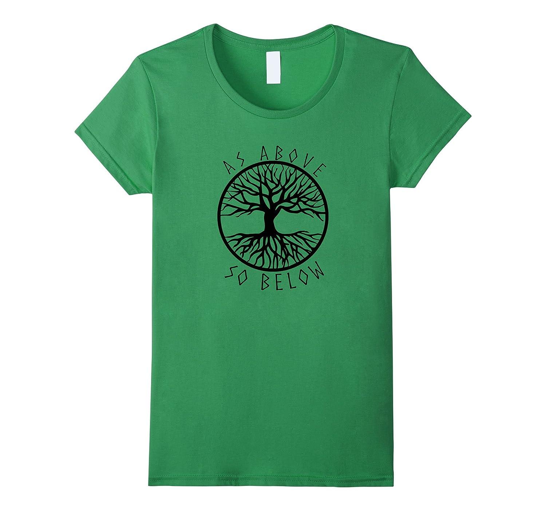 Womens Above Yggdrasil Pagan tshirt-Teeae