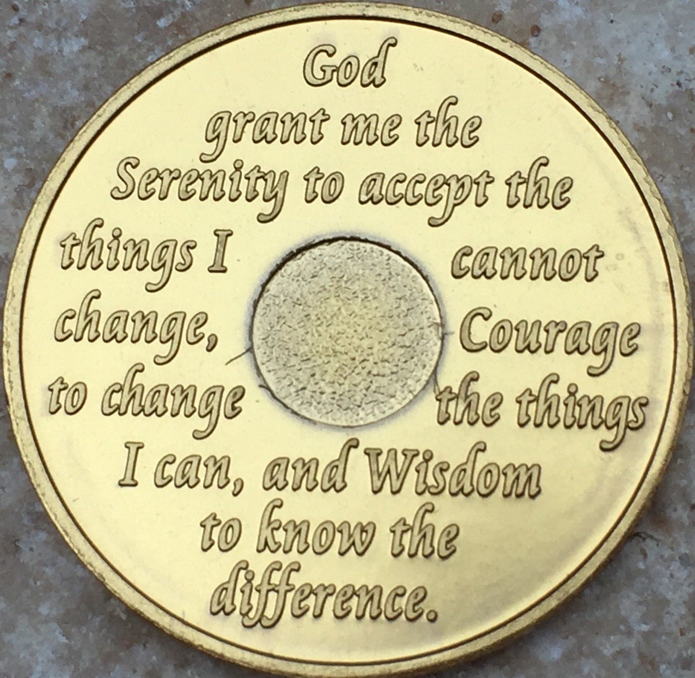 39 Year AA Medallion Green Gold Plated Anniversary Chip With Serenity Prayer