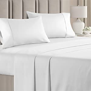 100% Cotton King Sheets White (4pc) Silky Smooth, Cooling 400 Thread Count Long Staple Combed Cotton King Sheet Set – Pure 400TC High Thread Count King Sheets - King Bed Sheets Cotton All Cotton