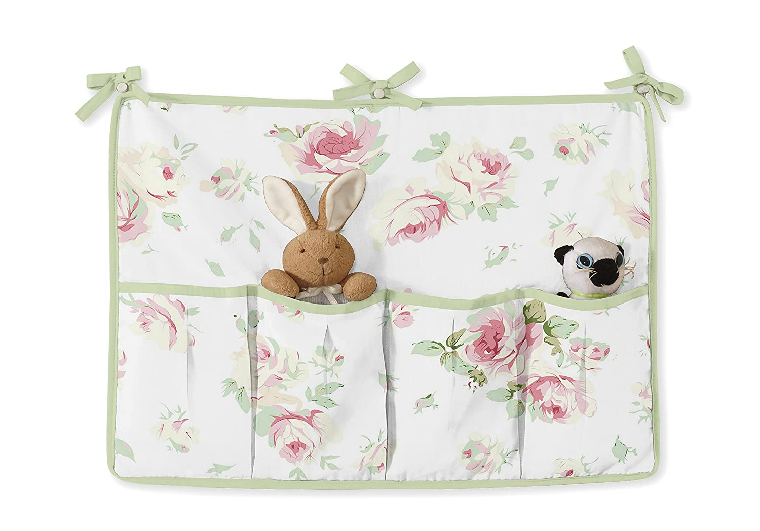 Sweet Jojo Designs 9-Piece Rileys Roses Pink and Sage Green Shabby Chic Floral Baby Girl Flower Bedding Crib Set