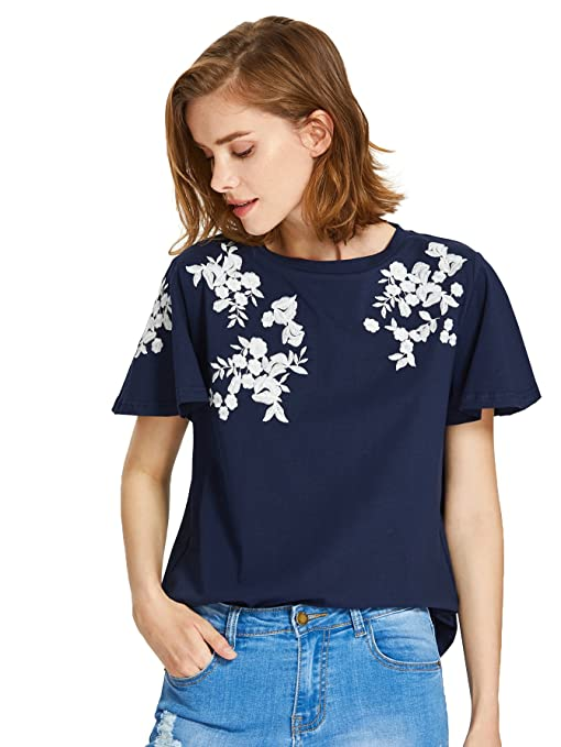 Floerns Women's Flower Embroidered Flutter Short Sleeve T-Shirts