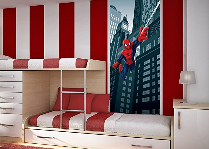WallandMore Spiderman Wall Decal Mural For Boys Bedroom 35.5u0026quot; W By  79.5u0026quot; H