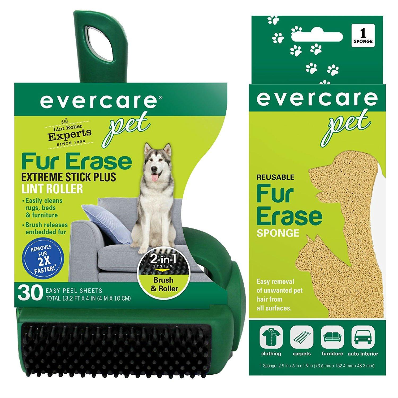 Evercare Pet Fur Erase Bundle: Extreme Stick Lint Roller & Reusable Sponge