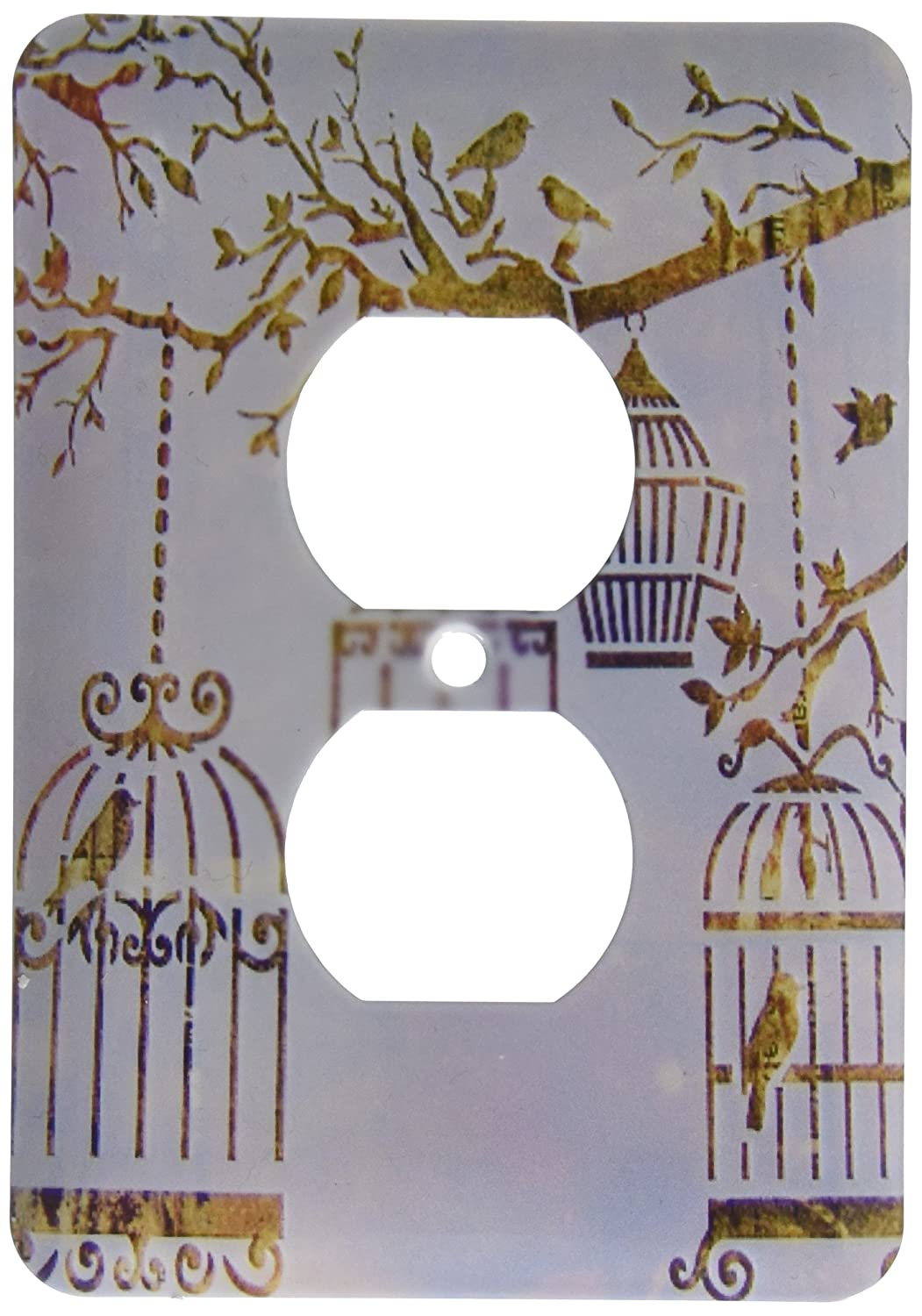 3dRose lsp/_163069/_6 Image of Birds and Bird Cages in Fall Colors and Tree Branch 2 Plug Outlet Cover