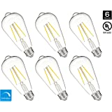 Hyperikon 5W Dimmable ST64 LED Vintage Filament Bulb, 520 lumen, 3000K, E26 Base, UL, 6-Pack - Great for pendants, sconces and other decorative lighting