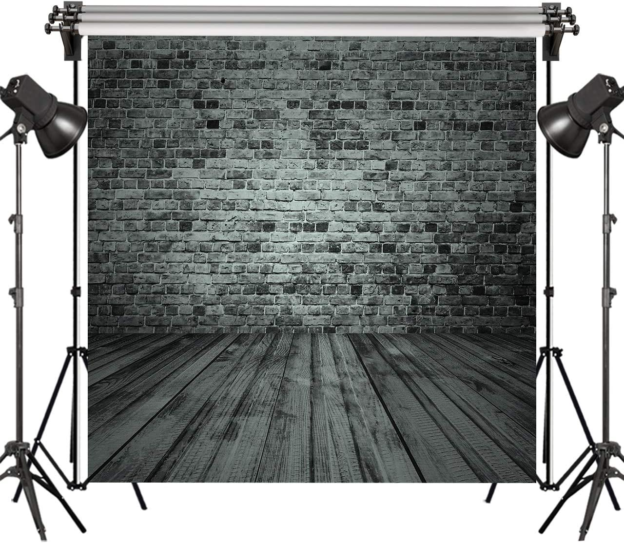 7x5 FT Vintage Brick Wall Photo Backdrops Wood Floor Photography Background for Wedding Party Portraits Photo Booth Backdrop 96-87